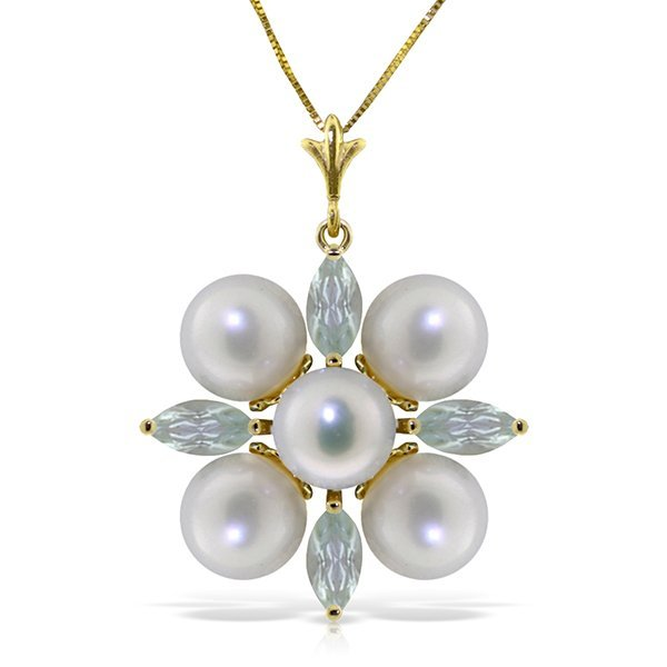 14k Solid Gold 1.30ct Aquamarine & Pearl Necklace