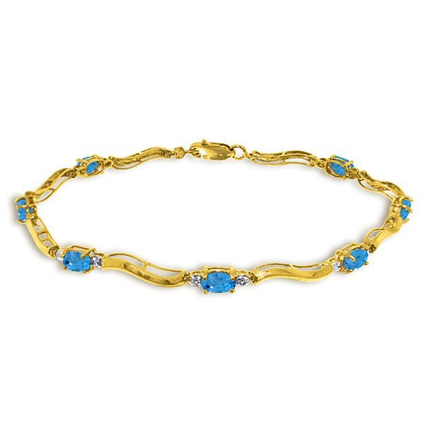 14k Solid Gold 2.15ct Blue Topaz & Diamonds Bracelet