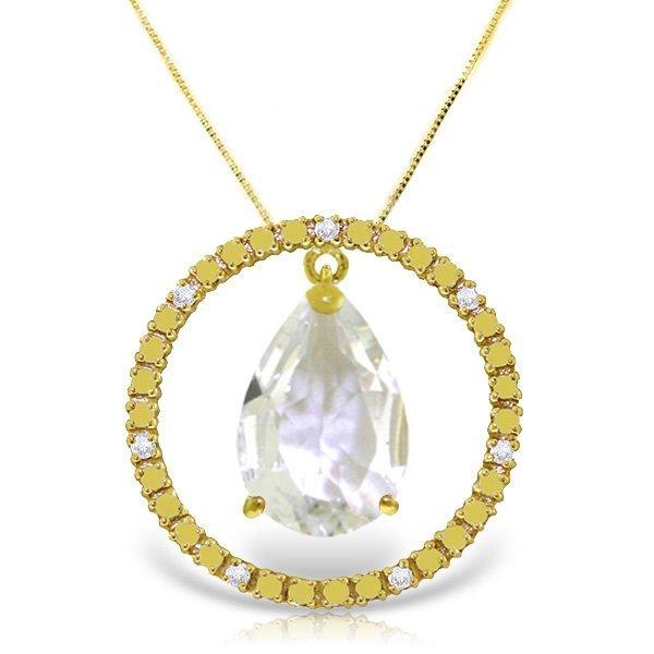 14K Solid Gold 6.5ct White Topaz & Diamond Necklace