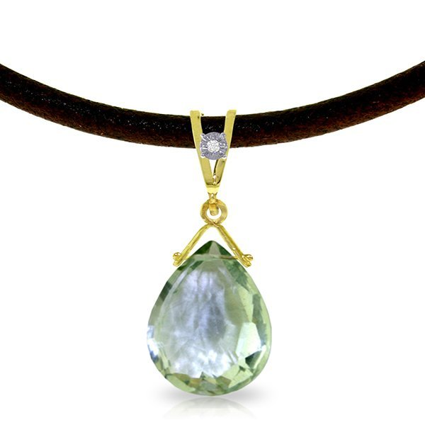 14K Solid Gold 6.5ct Green Amethyst & Diam.Necklace