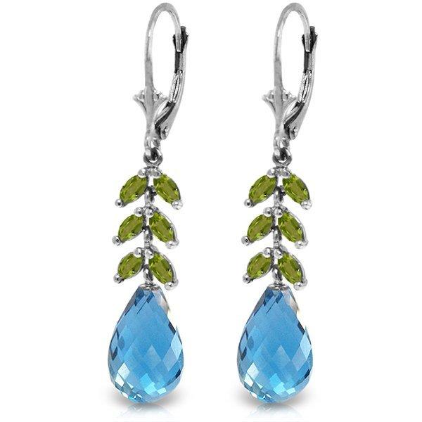14k WG Blue Topaz & Peridot Fancy Earrings