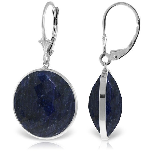 14K White Gold 46.0ct  ROUND SAPPHIRES EARRING