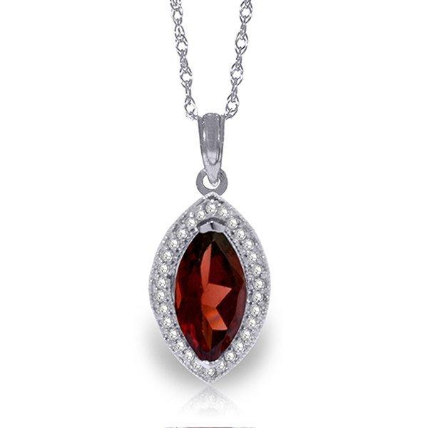 14k Solid Gold 2.0ct Garnet & Diamond Necklace