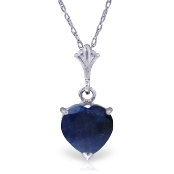 14k White Gold 1.55ct Heart Sapphire Necklace