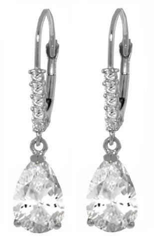 14k WG 3.0ct White Topaz & Diamond Leverback Earrings