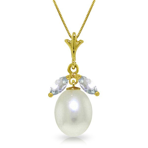 14k YG 4.00ct Pearl Necklace with .50ct White Topaz