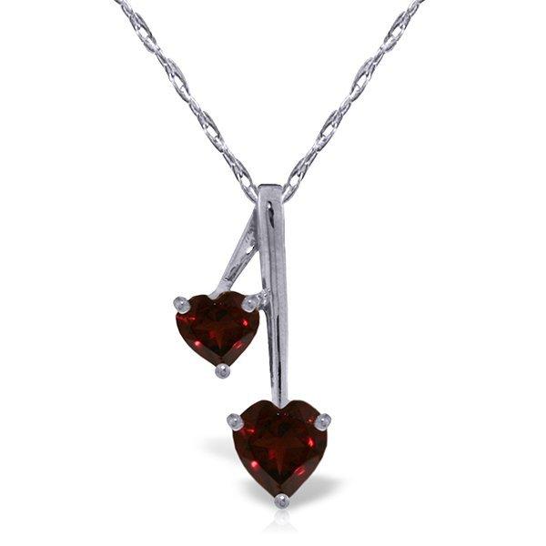 14k Solid Gold Garnet Hearts Necklace