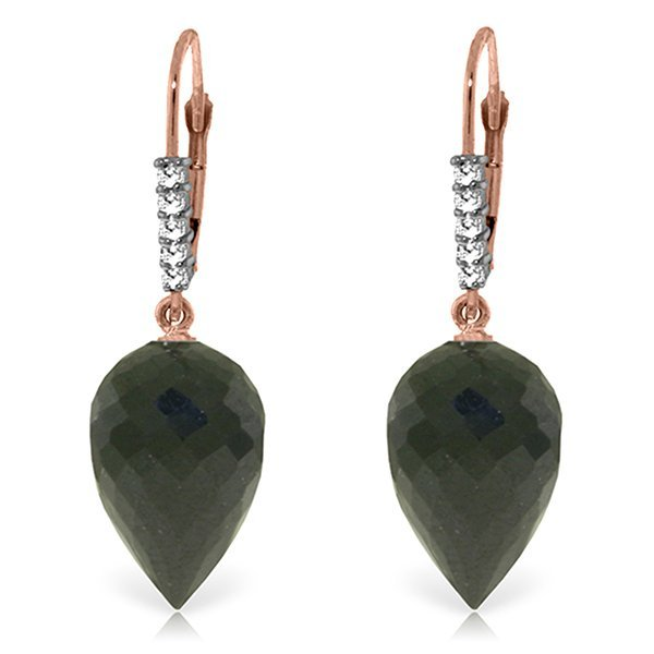 14k Gold 24.50ct Black Spinel with Diamond Earrings