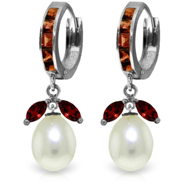 14K White Gold 8.0ct Pearl & 1.3ct 1.0ct Garnet Earring