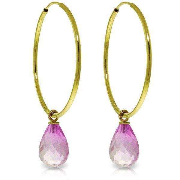14k Gold 4.50ct Pink Topaz Hoop Earrings