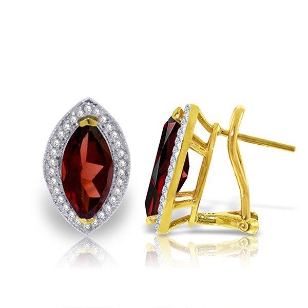 4.3ct 14k Solid  Gold Hayworth Garnet Diamond Earring