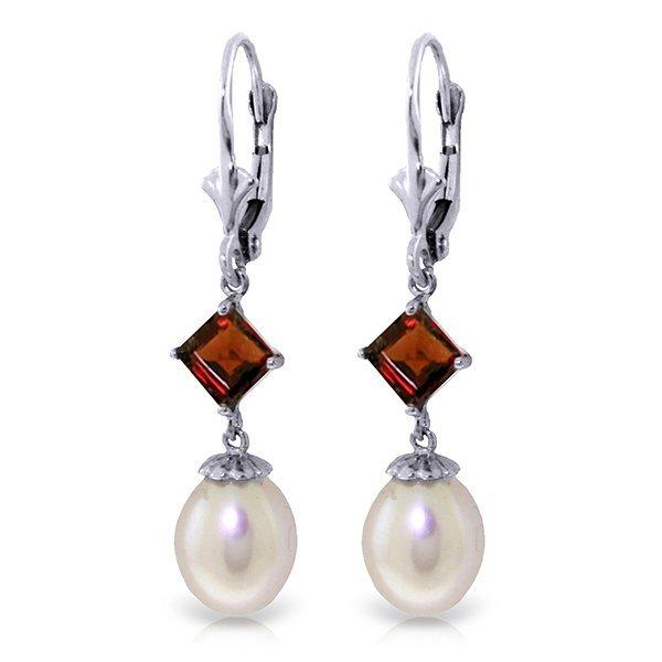 14k Solid Gold 1.50ct Garnet & Pearl Earrings