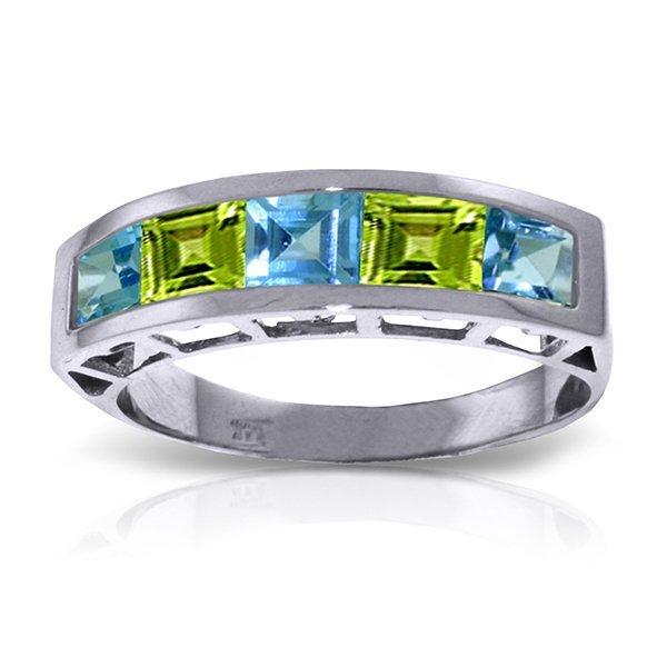 14K White Gold 1.35ct Blue Topaz & 1.0ct Peridot Ring