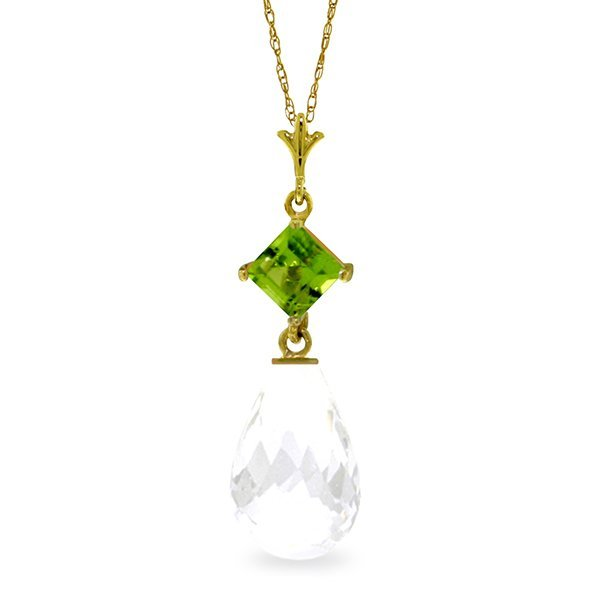 14K Solid Gold 5.0ct White Topaz & Peridot Necklace
