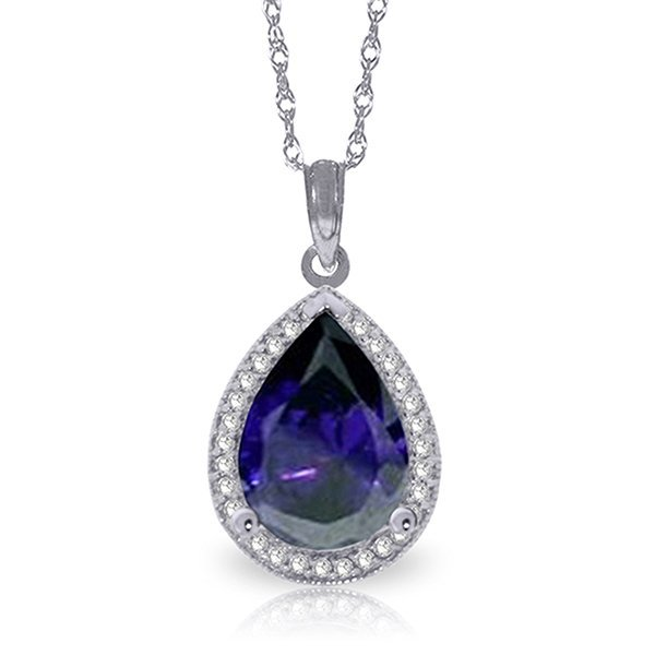14k Solid Gold 5.10ct Sapphire & Diamond Necklace
