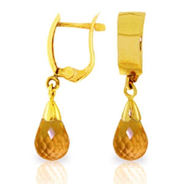 14k YG 2.50ct Briolette Citrine Earrings