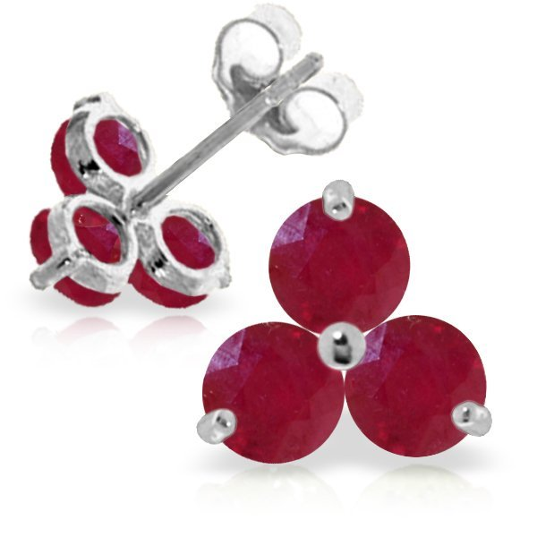 14k WHITE GOLD 1.50ct ROUND Ruby Stud Earrings