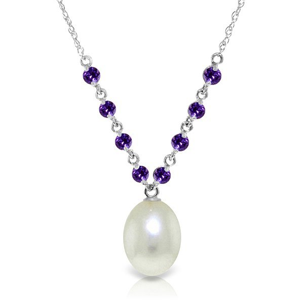 14k White Gold Amethyst & Pearl Necklace