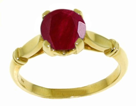 14k Yellow Gold 2.0ct Ruby Solitaire Ring