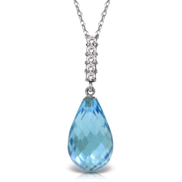 14K DIAMOND & 6.60ct DROP BLUE TOPAZ NECKLACE