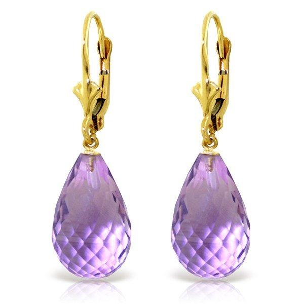 14.00ct Briolette Amethyst Earrings in 14k YELLOW GOLD