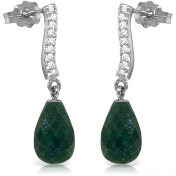14K White Gold 6.60ct Emerald & Diamond Earring