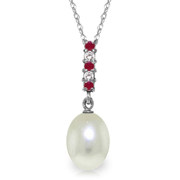 14K White Gold 4.0ct Pearl, Ruby & Diamond Drop