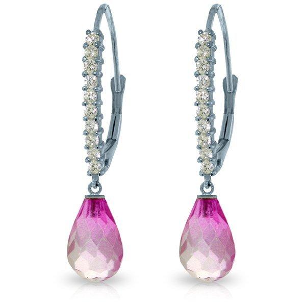 14k Solid Gold Pink Topaz & Diamond Earrings