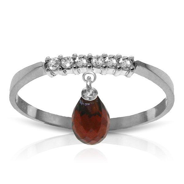 14k Solid Gold 1.35ct Garnet & Diamonds Ring