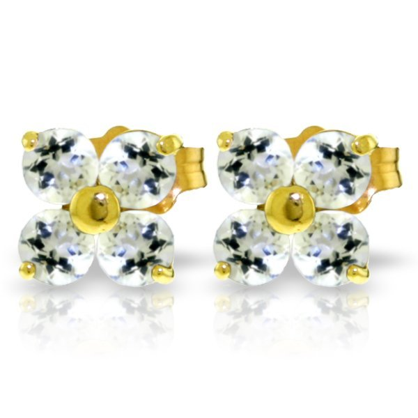 14K Solid Gold 1.15ct Round Tanzanite Stud Earring