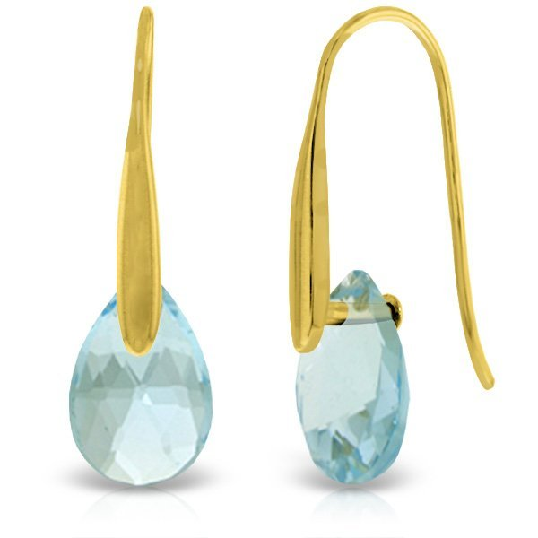 14K Solid Gold 6.0ct Blue Topaz Fish Hook Earring