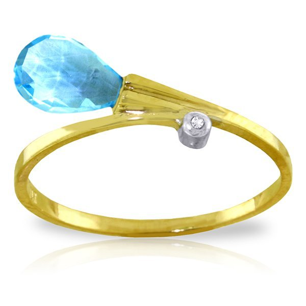 14K YG DIAMOND & 1.50ct BRIOLETTE BLUE TOPAZ RING