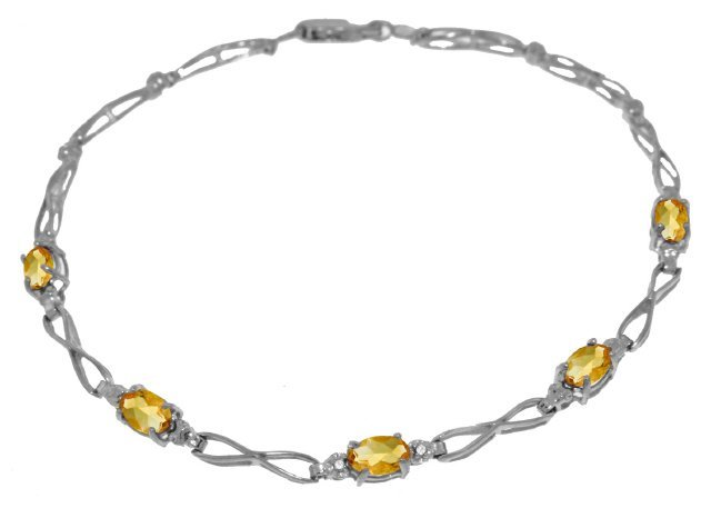 14K White Gold 1.15ct Citrine & Diamond Bracelet