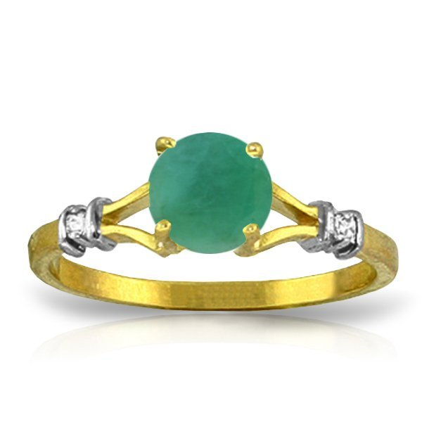 14K YG 0.02ct DIAMOND & 0.60ct ROUND EMERALD RING