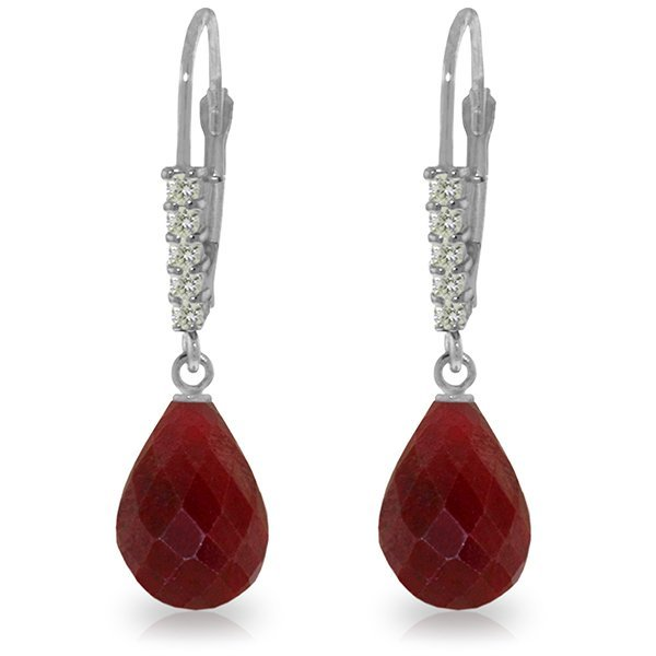 14K WG DIAMOND & 17.60ct RUBY LEVERBACK EARRING