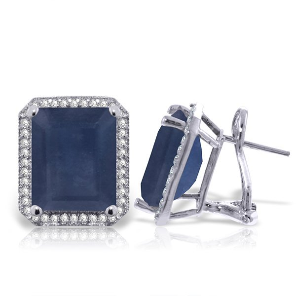 14K White Gold 12.8ct Octagon Sapphire & Diamond