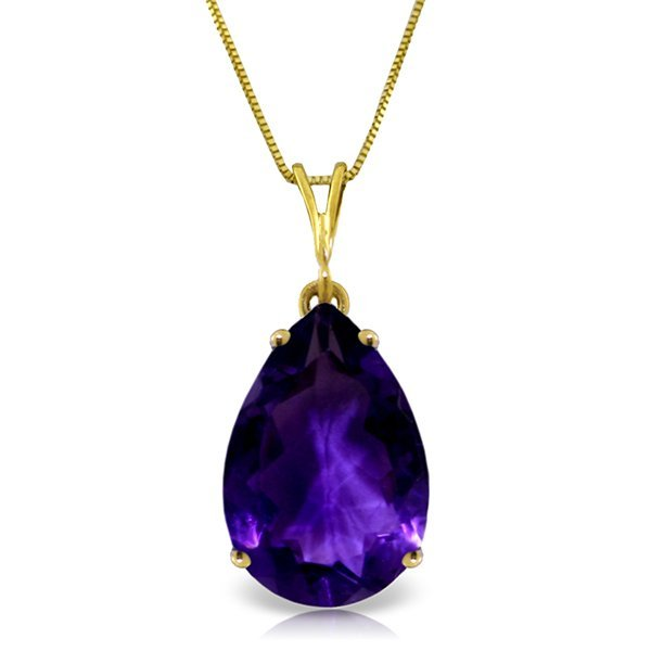 5.0ct Amethyst Drop Style Necklace in 14k YELLOW GOLD