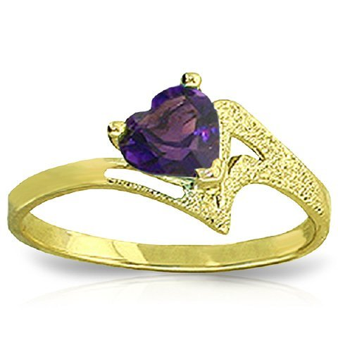 14k Yellow Gold 0.75CT Heart Amethyst Ring