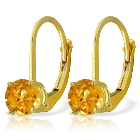 14k Gold 1.20ct Citrine Leverback Earrings