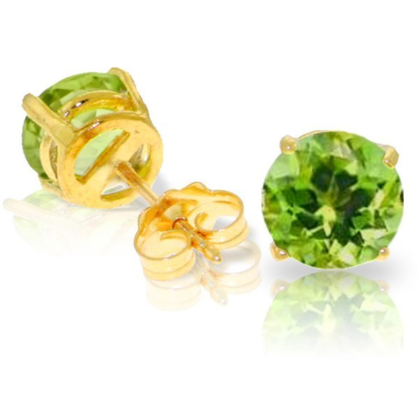 3.10ct Round Peridot Stud Earrings in 14k YG