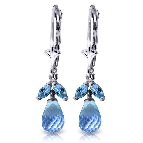 14k Solid Gold Blue Topaz Petite Earrings