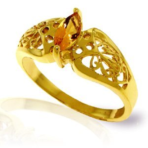 14k Yellow Gold 0.20ct Citrine Filigree Ring