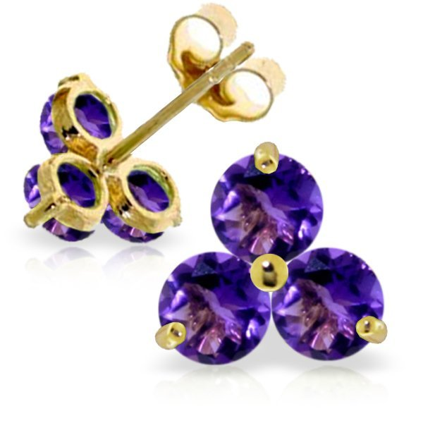 14k Yellow Gold 1.50ct Amethyst Stud Earrings