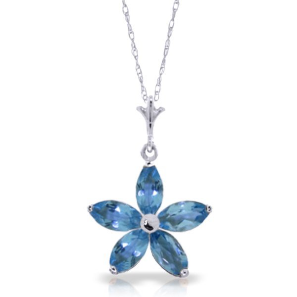 14k WG 1.40ct MARQUIS Blue Topaz Flower Necklace