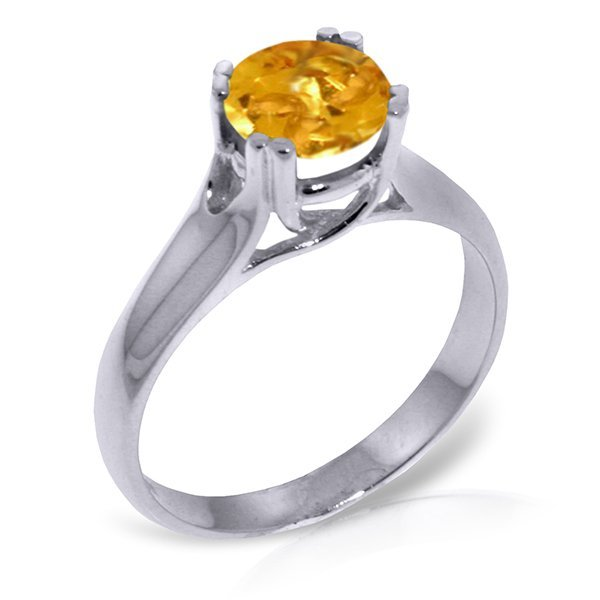 14K White Gold 1.10ct Round Citrine Solitaire Ring