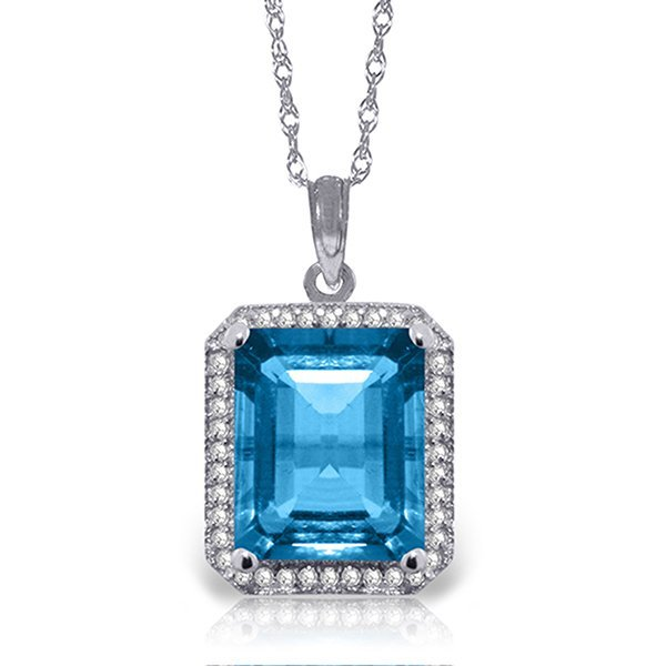 14k Solid Gold 7.60ct Blue Topaz & Diamond Necklace