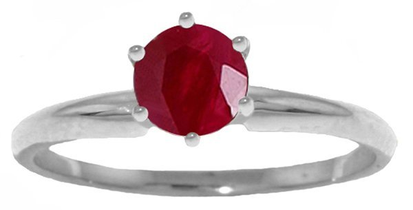 0.65ct Ruby Classic Solitaire Ring in 14k WHITE GOLD