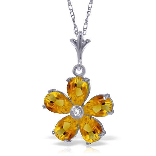 14k Solid Gold 2.20ct Citrine & Diamond Necklace