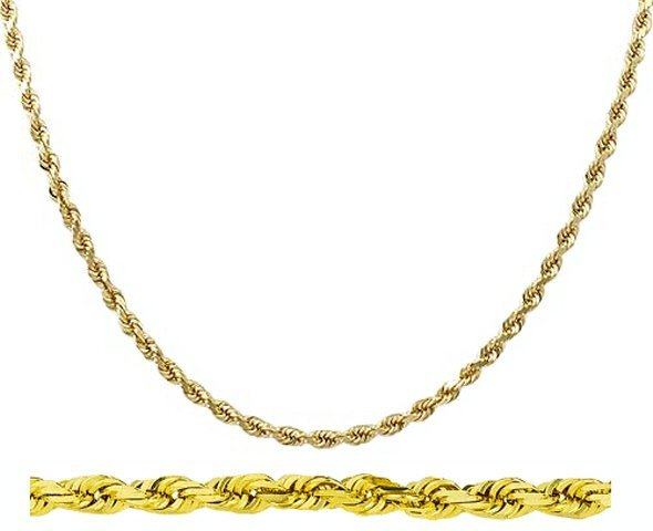 "20"" 14k Solid Gold Diamond-Cut Rope Chain 2.0mm wide"