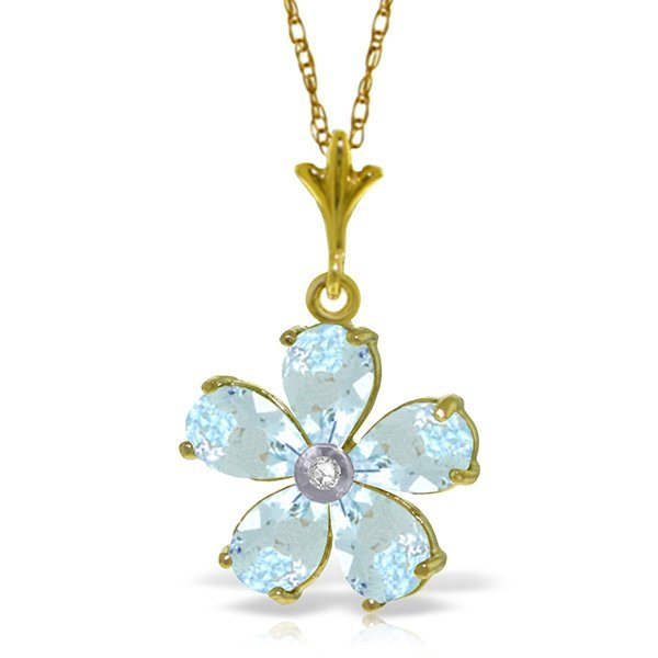 14k Solid Gold 2.20ct Aquamarine & Diamond Necklace